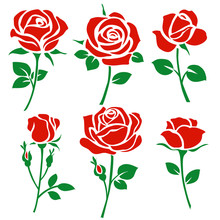 Set Of Decorative Red Rose Silhouette With Green Leaves. Vector Illustration. Flower Icon