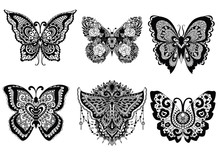 Six Butterflies Zendoodle Design For Design Element,t Shirt Design,printed Product And Both Adult And Kids Coloring Book Page For Anti Stress. Vector Illustration