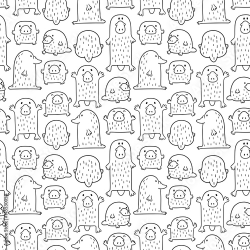 Seamless vector pattern with cute funny platypuses