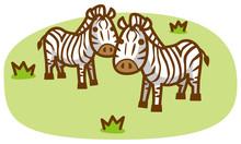 シマウマと草原