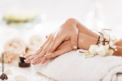 Foto op Canvas Spa Enjoying Hand and Nail Treatment in Spa.
