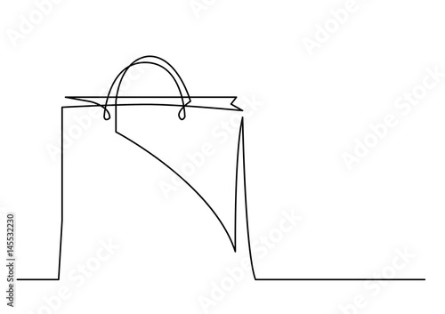 Obraz na plátně continuous line drawing of shopping bag