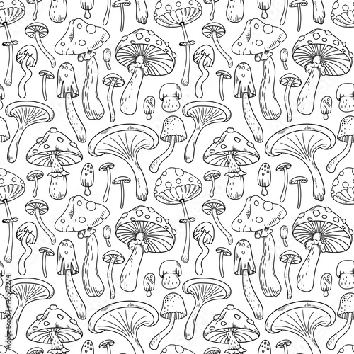 Mushrooms vector seamless pattern
