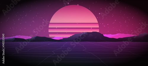 Fotografia  80s Retro Sci-Fi Background with Sunrise or Sunset