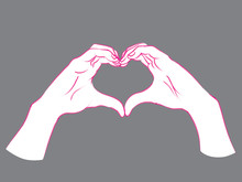 Gesture. Female Hands In The Form Of Heart.