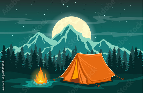 Canvas Print Family Adventure Camping Evening Scene