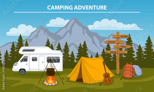 Fotografia Campsite with  camping tent, rocky mountains, pine forest, guitar, pot, campfire, hiking backpacks , directional sign, caravan