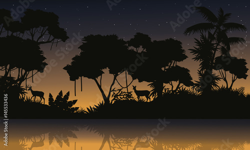 Poster Violet Beauty scenery with jungle silhouettes