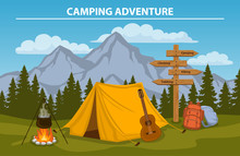 Campsite With  Camping Tent, R...