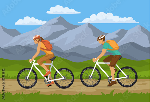 Fotografie, Obraz  Man and Woman traveling with packpacks on mountain bikes