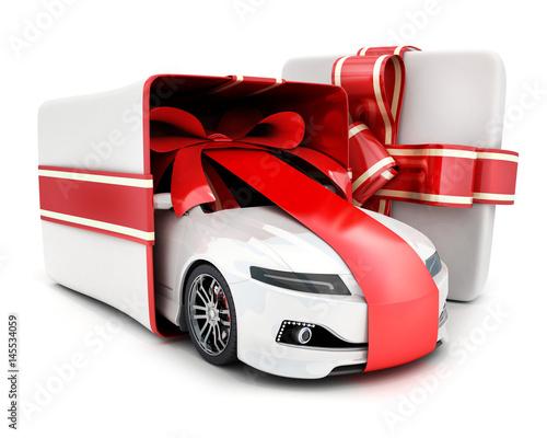 Car gift in box and ribbon Wallpaper Mural