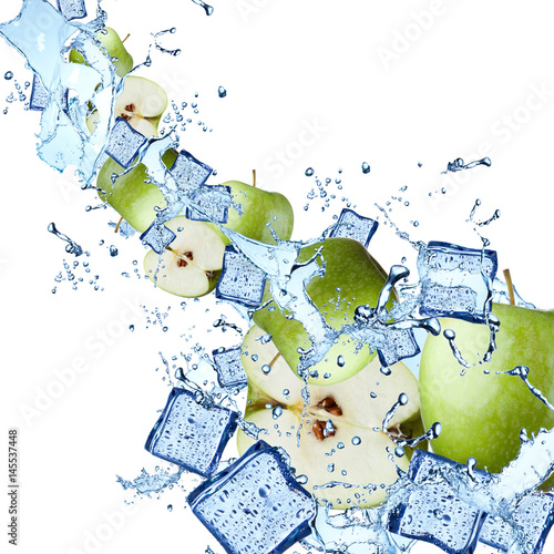 Poster Dans la glace Water splash with apple and lime isolated on white background. Splash motion with fruits. Abstract object