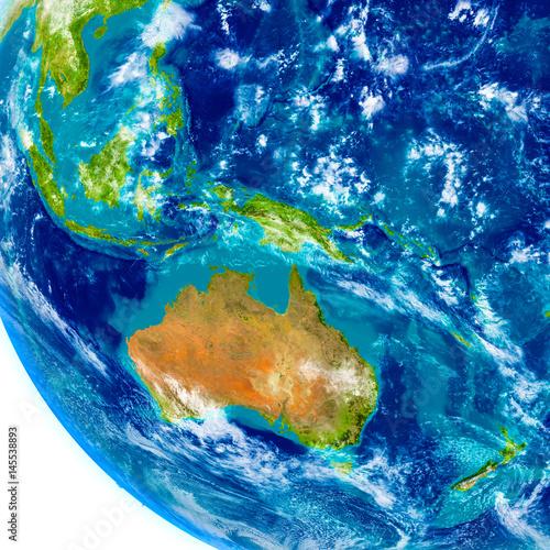 Australia on physical globe Wallpaper Mural