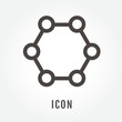 icon Molecule illustration isolated sign symbol thin line for modern minimalistic flat design vector on white background. logo