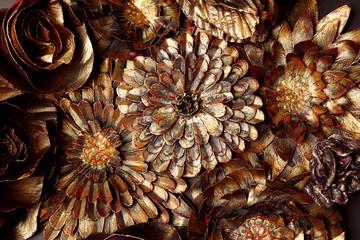 Panel Szklany Decorative metal floral elements
