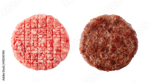 Raw and fried burger beef patty isolated on white background