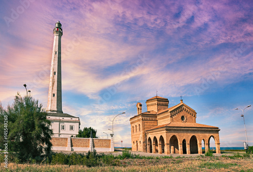 Punta Penna, Vasto, Abruzzo, Italy: lighthouse and church on the coast of the Ad Wallpaper Mural