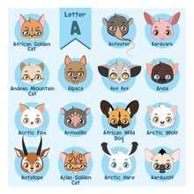 Animal Portrait Alphabet - Letter A