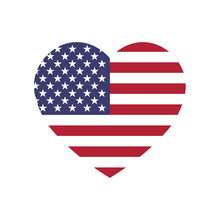 USA Flag In A Shape Of Heart. ...
