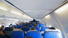 People Are On Board Of The Plane, People Are Sitting In Blue Armchairs, Through The Windows Of The Plane, The Bright Sunlight Is Dissipating. The Frame Was Made From The Tail Section Of The Aircraft