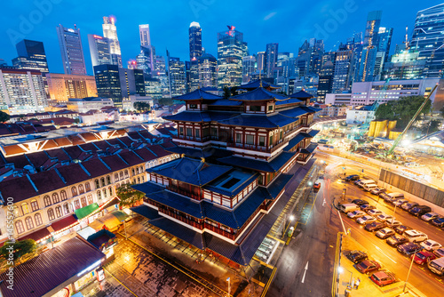 Buddha Tooth Relic Temple at night in Singapore