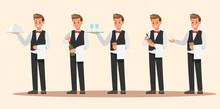 Set Of Waiter Character Design...