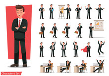 Set Of Businessman Character D...