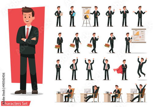 Fotografie, Obraz  Set of Businessman character design.