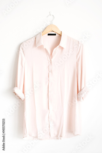 Front view of beauty trendy pink female blouse on hanger near white background Canvas Print