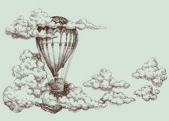 Panel Szklany Niebo Hot air balloon up in the sky, retro poster
