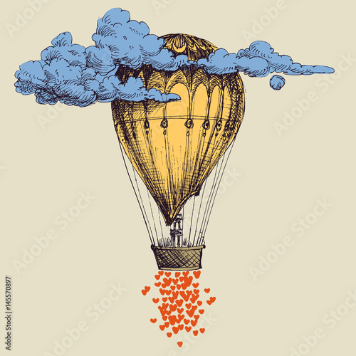 Fotografie, Obraz  Hot air balloon up in the sky with lots of hearts. Love concept