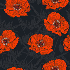 Naklejka seamless tile with graphic wild poppy in night gray and orange