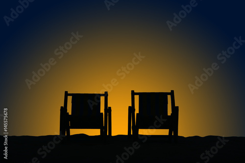 Photo Stands South Africa The silhouettes of the chairs on the background of sunrise