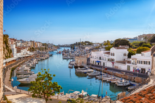 Cadres-photo bureau Canal View on old town Ciutadella port on sunny day, Menorca island, Spain.