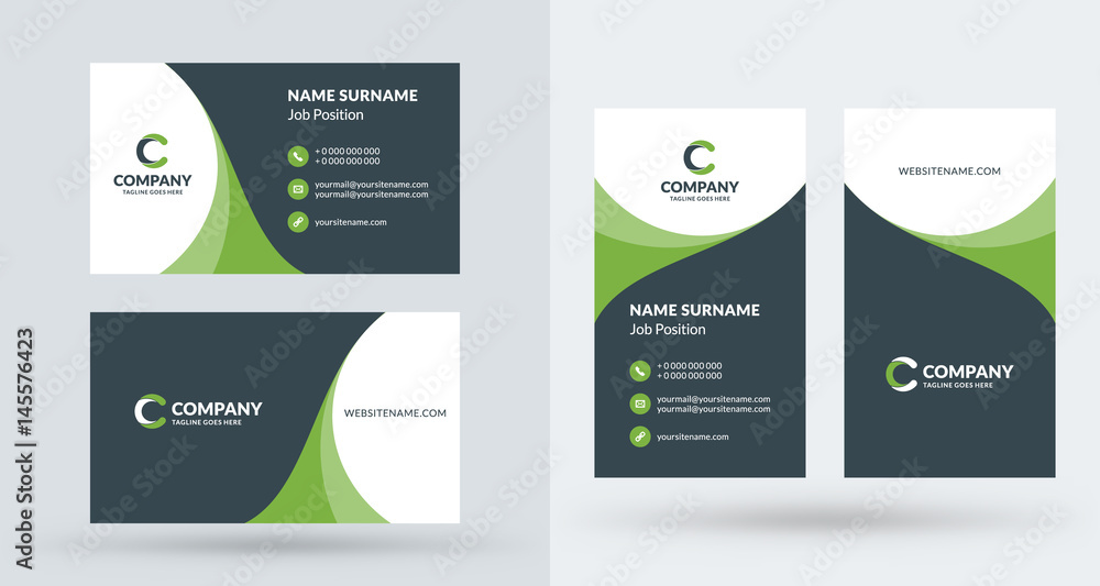Fototapety, obrazy: Double-sided creative business card template. Portrait and landscape orientation. Horizontal and vertical layout. Vector illustration