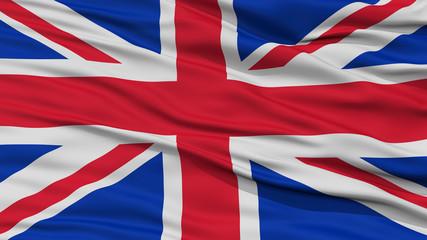 Closeup United Kingdom Flag, Waving in the Wind, High Resolution