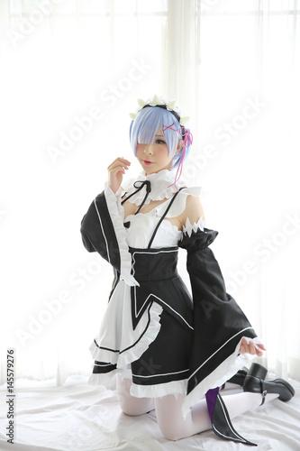 Japan anime cosplay girl in white tone Wallpaper Mural