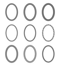 Vector Rope Set Of Oval Frames. Collection Of Thick And Thin Borders Isolated On White Background, Consisting Of Braided Cord And String. For Decoration And Design In Nautical Style.