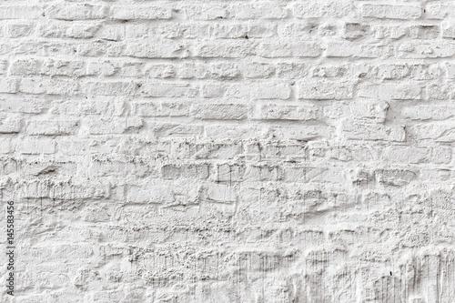 Poster Baksteen muur white brick wall grunge texture