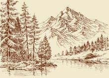 Alpine Landscape, River And Pi...