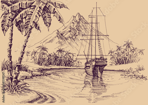 Cuadros en Lienzo Tropical gulf and boat. Pirate's bay illustration