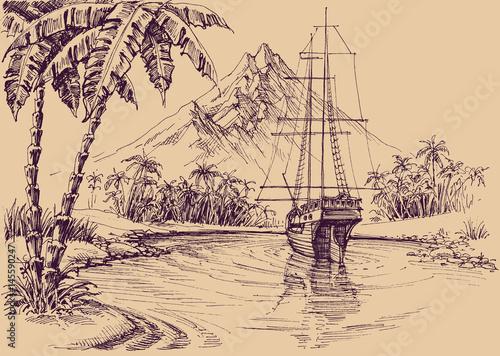 Fototapeta Tropical gulf and boat. Pirate's bay illustration