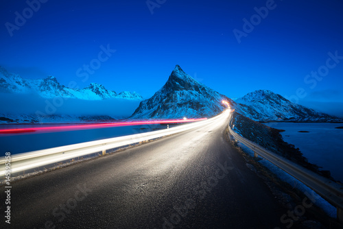Deurstickers Noord Europa Olstind Mount and car light. Lofoten islands? spring time, Norway