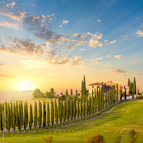 Deurstickers Toscane Tuscany at sundown - countryside road with trees and house