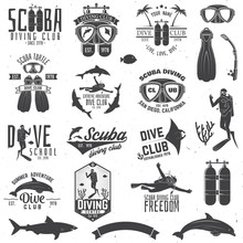 Set Of Scuba Diving Club And D...