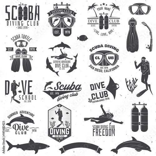 Set of Scuba diving club and diving school design. Fototapeta