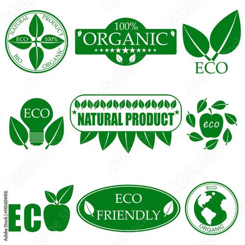 Eco food organic bio products eco friendly badge vegan icon ecology