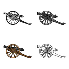 Cannon Icon In Cartoon Style I...