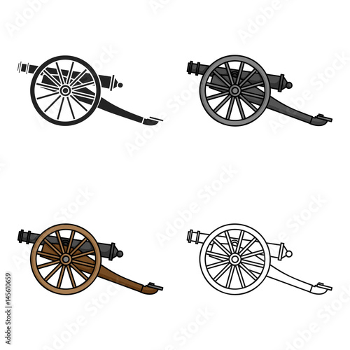 Cannon icon in cartoon style isolated on white background Wallpaper Mural