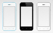 Set of modern smartphones with transparent screen isolated on transparent background
